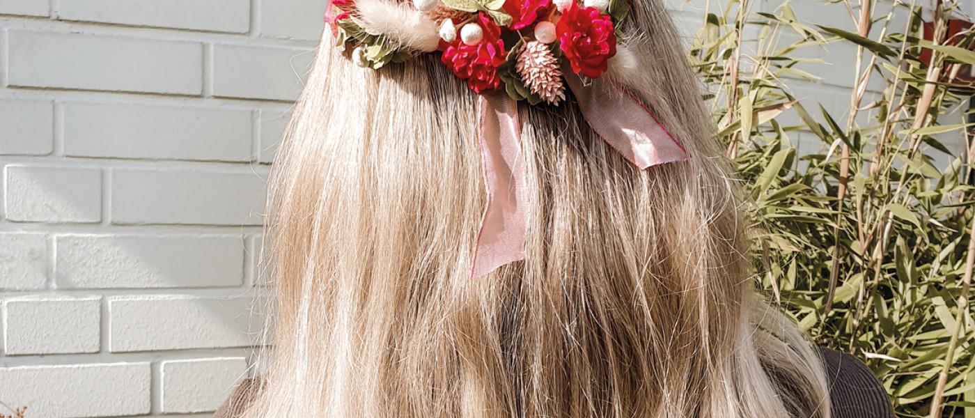 DIY Haarkranz aus Trockenblumen